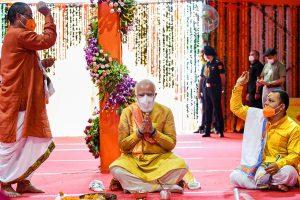 अयोध्या में राम मंदिर भूमि पूजन समारोह में प्रधानमंत्री नरेंद्र मोदी. (फोटो: पीटीआई)