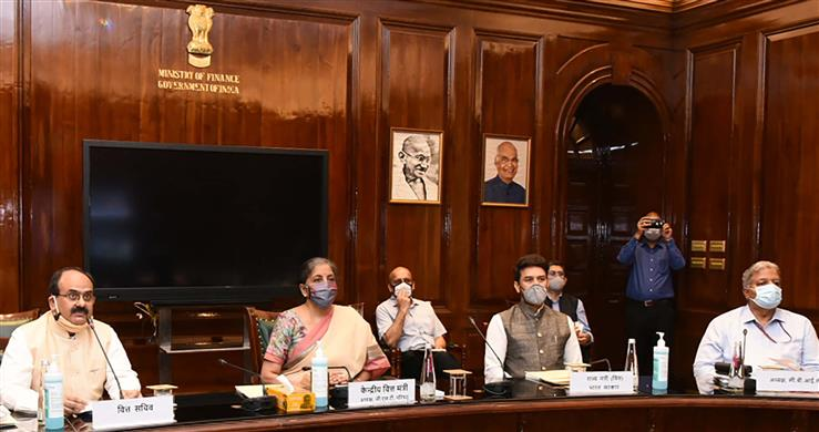 The Union Minister for Finance and Corporate Affairs, Smt. Nirmala Sitharaman chairing the 41st GST Council meeting via video conferencing, in New Delhi on August 27, 2020. The Minister of State for Finance and Corporate Affairs, Shri Anurag Singh Thakur and other dignitaries are also seen.