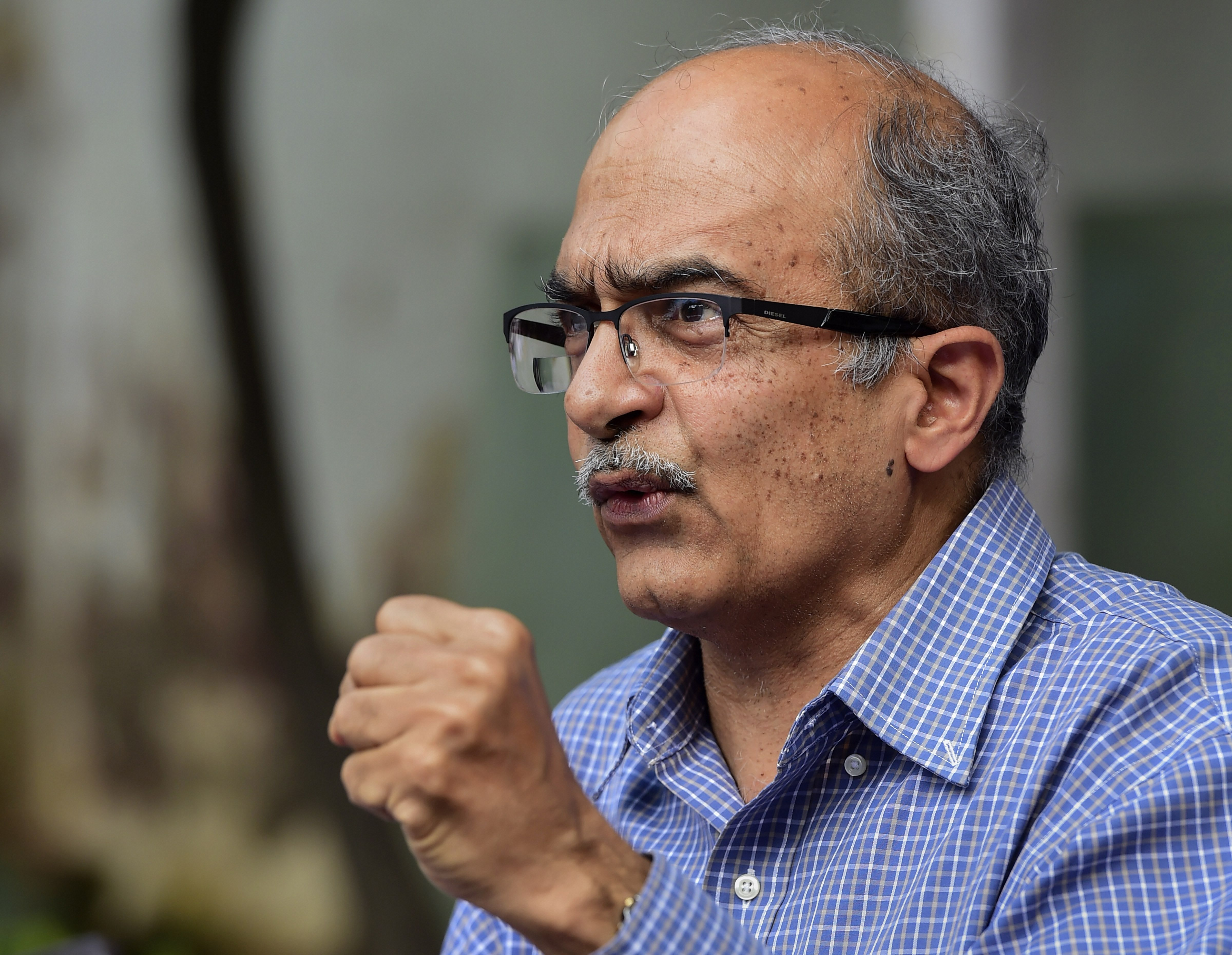 New Delhi: Activist-lawyer Prashant Bhushan addresses a press conference, after Supreme Court imposed a token fine of one rupee as punishment in a contempt case against him, in New Delhi, Monday, Aug. 31, 2020. (PTI Photo/Kamal Kishore)(PTI31-08-2020_000115B)