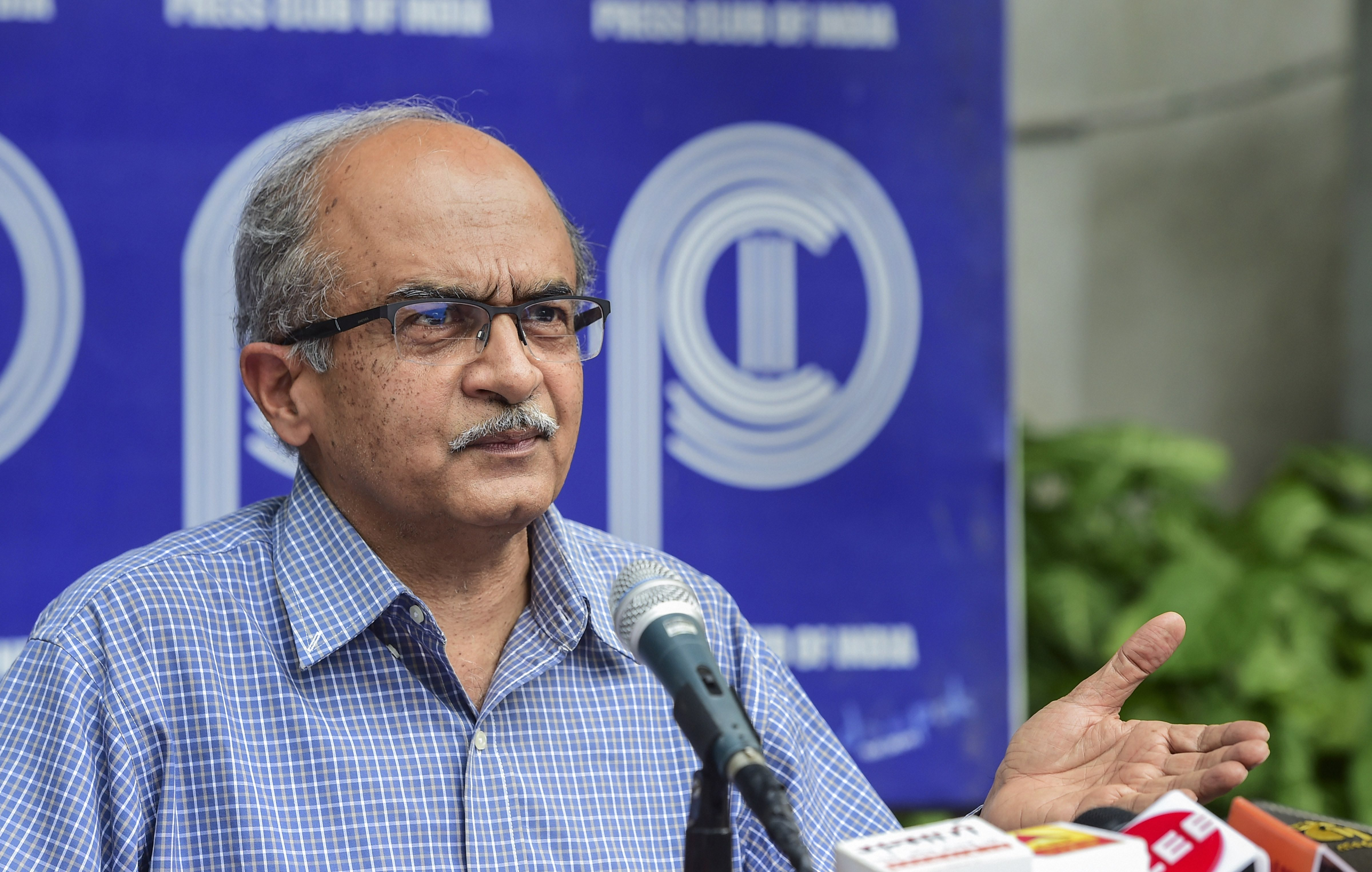 New Delhi: Activist-lawyer Prashant Bhushan addreses a press conference, after Supreme Court imposed a token fine of one rupee as punishment in a contempt case against him, in New Delhi, Monday, Aug. 31, 2020. (PTI Photo/Kamal Kishore)(PTI31-08-2020_000105B)