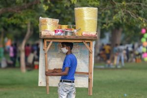 New Delhi: A vendor looks for customers at Rajpath lawns during Unlock 4.0, in New Delhi, Wednesday, Sep 2, 2020. (PTI Photo/Vijay Verma)(PTI02-09-2020 000126B) *** Local Caption