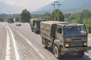 Kullu: Army trucks move along the Manali-Leh highway, amid border tension between India and China, in Kullu district, Wednesday, Sept. 2, 2020. (PTI Photo)(PTI02-09-2020 000063B)