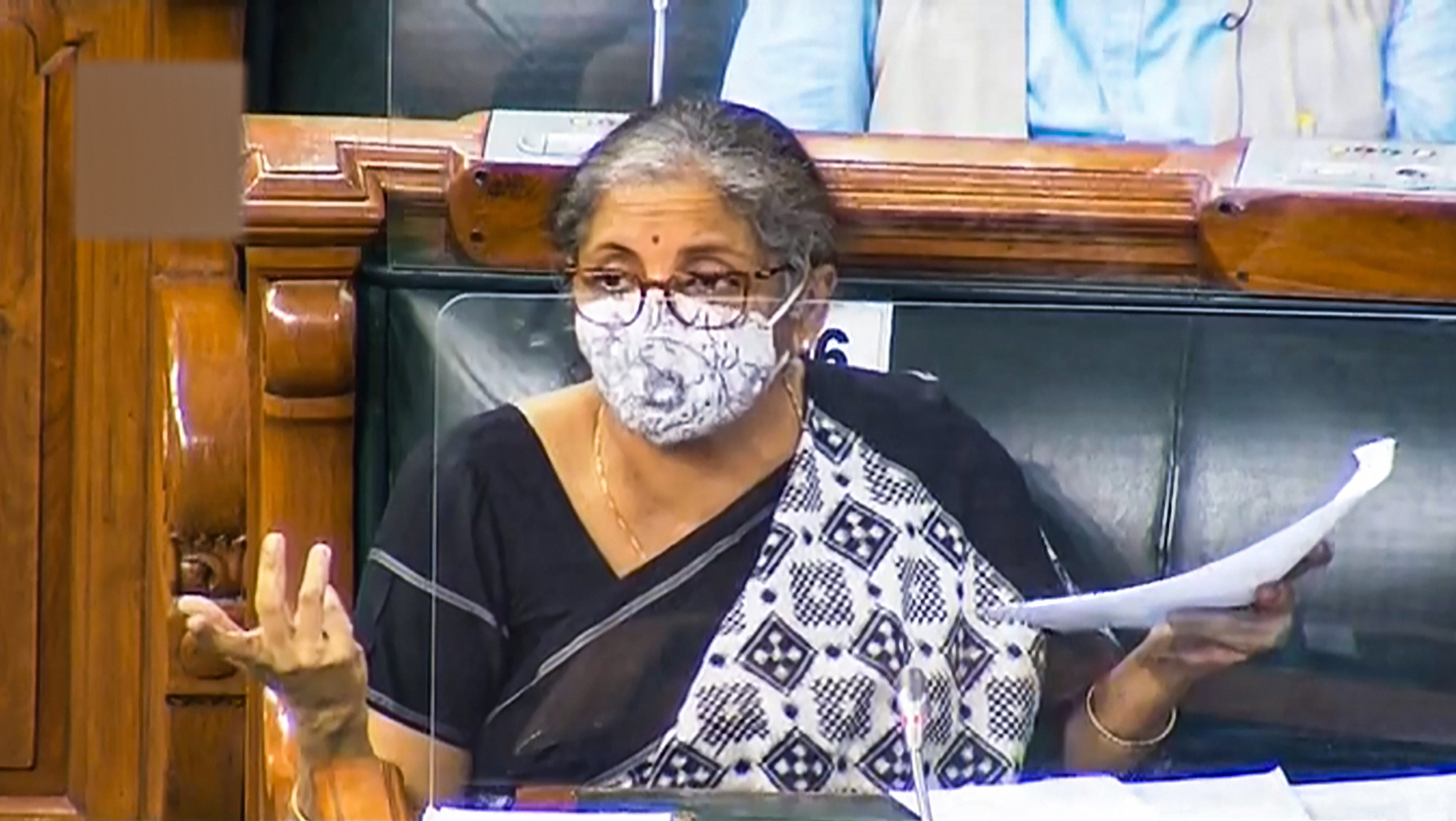 **EDS: VIDEO GRAB** New Delhi: Finance Minister Nirmala Sitharaman speaks in the Lok Sabha during the ongoing Monsoon Session of Parliament, at Parliament House in New Delhi, Saturday, Sept. 19, 2020. (LSTV/PTI Photo)(PTI19-09-2020_000228B)