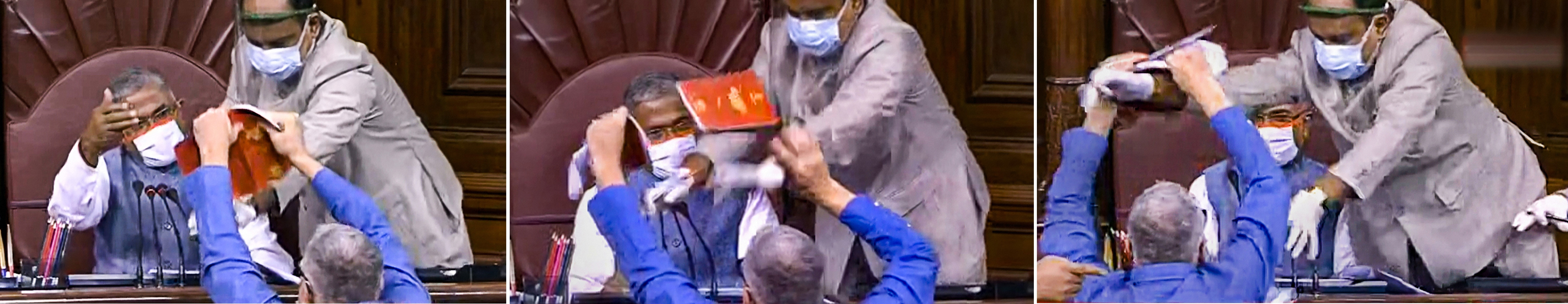 **EDS: COMBO** New Delhi: In this combo image, is seen TMC MP Derek O'Brien attempting to tear the rule book as ruckus erupts in the Rajya Sabha over agriculture related bills, during the ongoing Monsoon Session, at Parliament House in New Delhi, Sunday, Sept. 20, 2020. (RSTV/PTI Photo)(PTI20-09-2020_000147B)