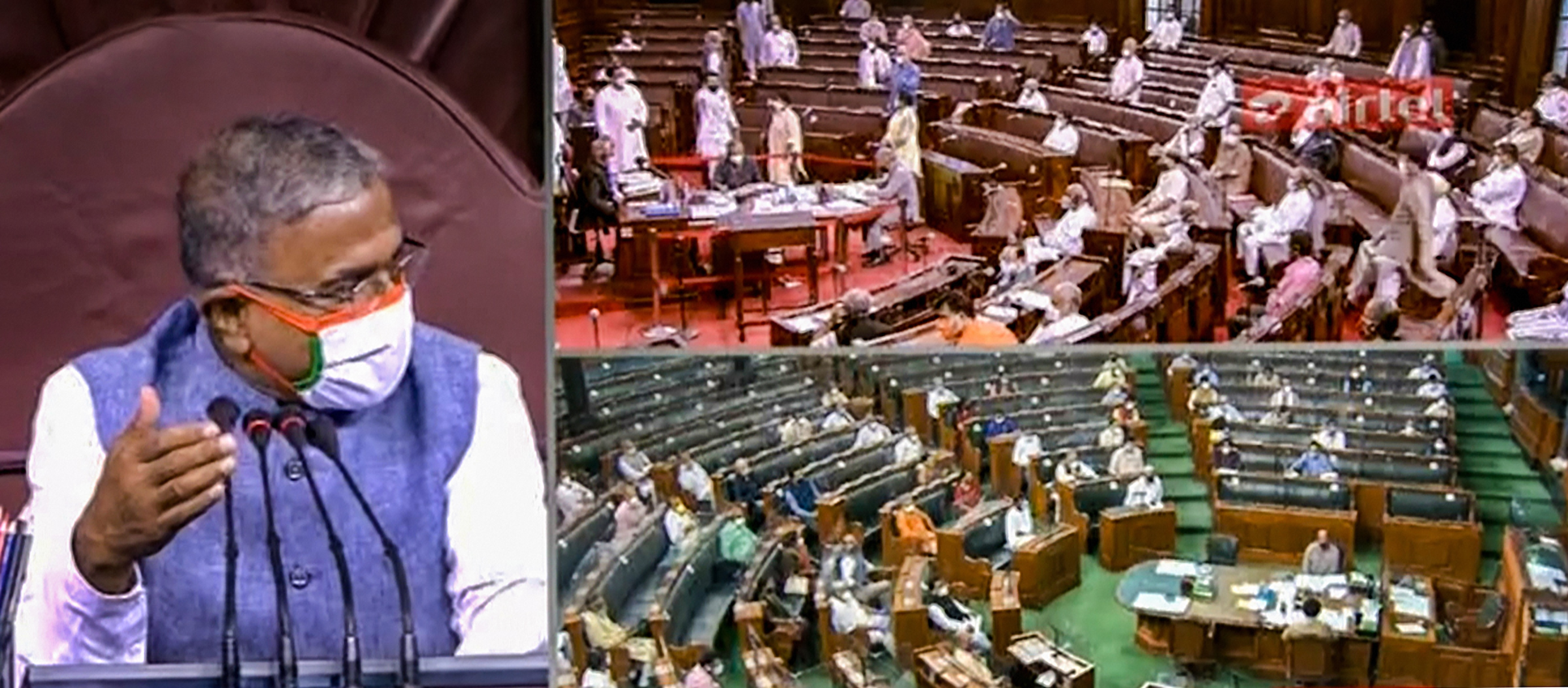 **EDS: VIDEO GRAB** New Delhi: Rajya Sabha Deputy Chairman Harivansh Singh conducts proceedings as ruckus erupts in the upper house over agriculture related bills, during the ongoing Monsoon Session, at Parliament House in New Delhi, Sunday, Sept.20, 2020. (RSTV/PTI Photo)(PTI20-09-2020_000081B)