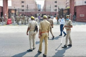 Tight security arrangements at the Allahabad High Court Lucknow Bench on October 12, 2020, where family members of the 19-year-old Dalit woman of Hathras district appeared in connection with the alleged gang rape case. Photo: PTI