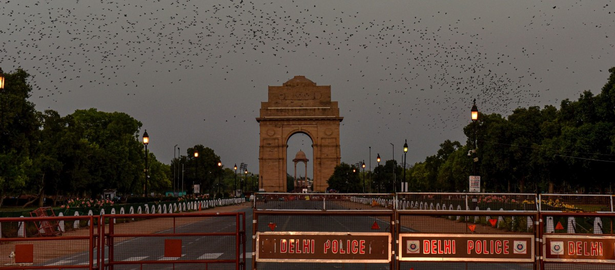 A flock of birds flying over India Gate during a nationwide lockdown, in New Delhi, Saturday, April 11, 2020. Photo: PTI/Manvender Vashist