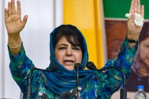 Srinagar: In this July 28, 2019, file photo former Jammu and Kashmir chief minister and Peoples Democratic Party (PDP) Chief Mehbooba Mufti addresses a public rally organized to celebrate the partys 20th Foundation Day, in Srinagar. Mufti was released on Tuesday night, Oct. 13, 2020, as the Union Territory administration revoked the Public Safety Act charges against her, more than a year after she was detained following the abrogation of special status of the erstwhile state. (PTI Photo)(PTI13-10-2020 000228B)