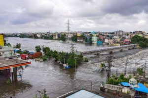 Several localities in the Greater Hyderabad Municipal Corporation limits received very heavy to extremely heavy rainfall leading to waterlogging on several roads and low-lying areas. (Photo: PTI)