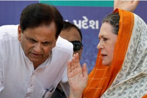 New Delhi: In this file photo dated Oct. 12, 2012, Congress President Sonia Gandhi with her political adviser Ahmed Patel at an election campaign rally in Rajkot. Patel (71) passed away on Wednesday, Nov. 25, 2020, at a Delhi hospital due to multiple organ failure more than a month after he was tested positive for COVID-19. (PTI Photo)(PTI25-11-2020 000006B)