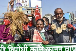Ranchi: Political activists demonstrate during a protest in support of the nationwide strike, called by agitating farmers to press for repeal of the Centres agri laws, in Ranchi, Tuesday, Dec. 8, 2020. (PTI Photo)(PTI08-12-2020 000050B)
