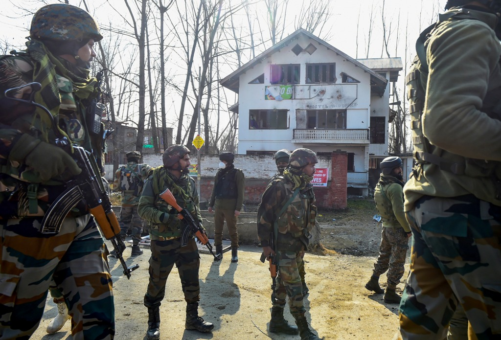 Srinagar: Security personnel leave after an encounter with militants, at Lawaypora on the outskirts of Srinagar, Wednesday, Dec. 30, 2020. Three militants were killed in the encounter. (PTI Photo/S. Irfan)(PTI30-12-2020 000131B)