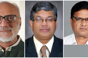 सुप्रीम कोर्ट की समिति में शामिल अशोक गुलाटी, प्रमोद कुमार जोशी और अनिल घनवट. (फोटो साभार: Smart Indian Agriculture/Sarkarnama/naarm.org)