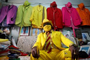 Kenyan fashionista James Maina Mwangi displays attire in Nairobi Reuters