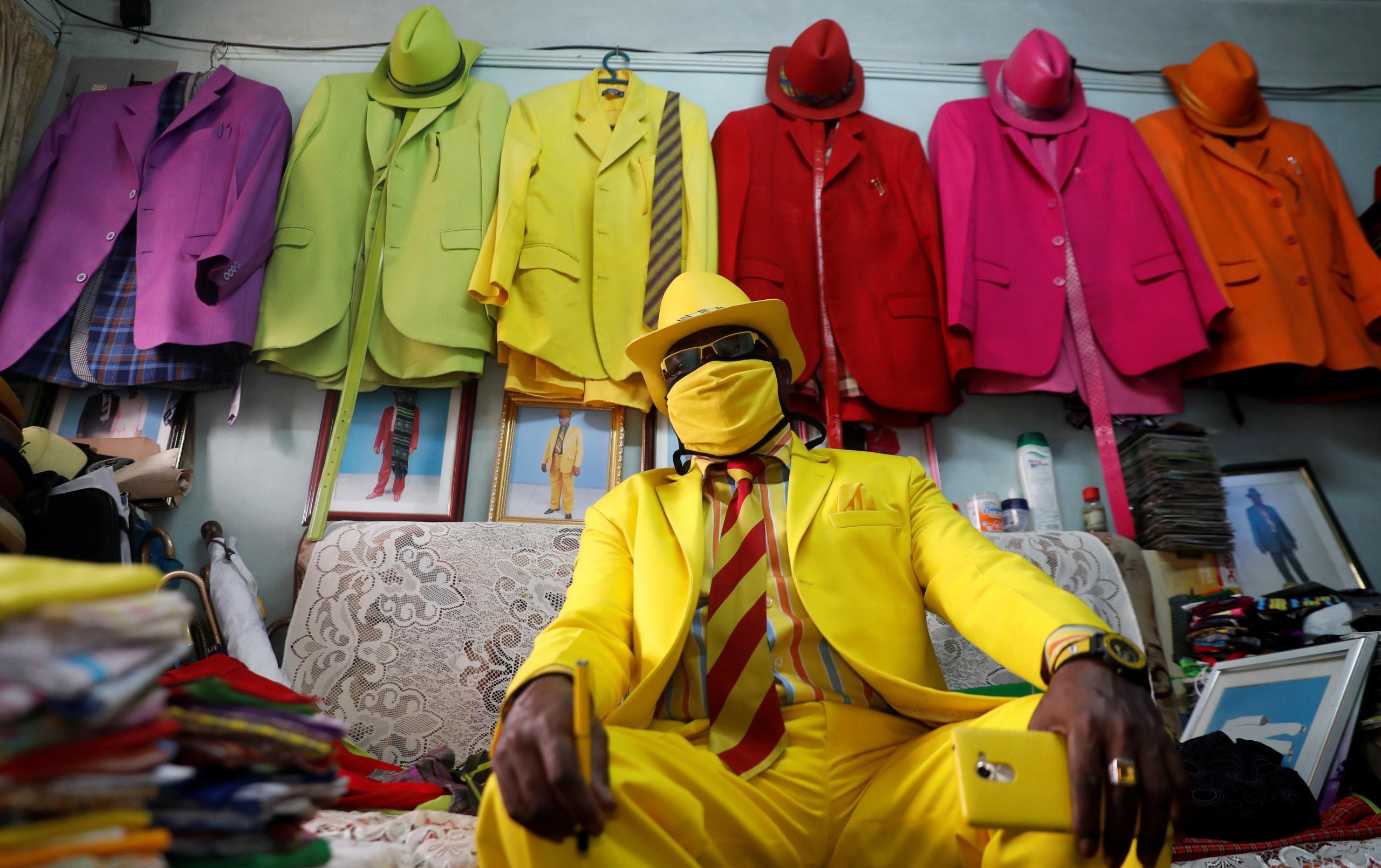 Kenyan fashionista James Maina Mwangi displays attire in Nairobi Reuters