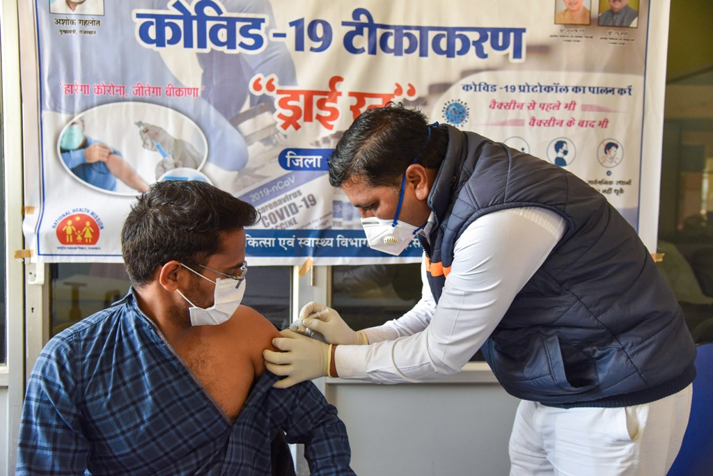 Bikaner: A health-worker takes part in the final dry run for the administration of COVID-19 vaccine in Bikaner, Wednesday, Jan. 13, 2021. (PTI Photo)(PTI01 13 2021 000068B)