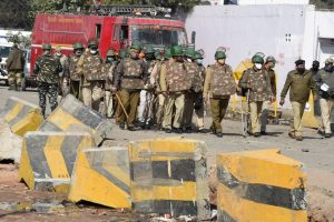 New Delhi: Security personnel patrol at the farmers protest site at Singhu Border in New Delhi, Wednesday, Jan. 27, 2021. (PTI Photo/ Shahbaz Khan)(PTI01 27 2021 000074B)