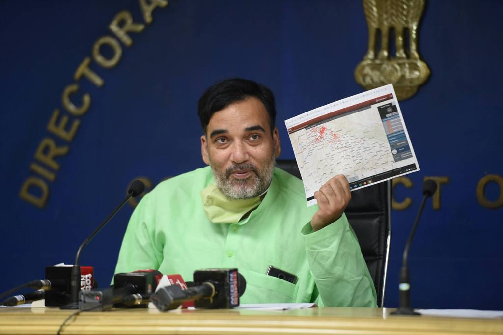 New Delhi: Delhi Environment Minister Gopal Rai addresses a press conference on current situation of pollution in Delhi and NCR, in New Delhi, Thursday, Oct. 15, 2020. (PTI Photo/Vijay Verma)(PTI15-10-2020 000080B)
