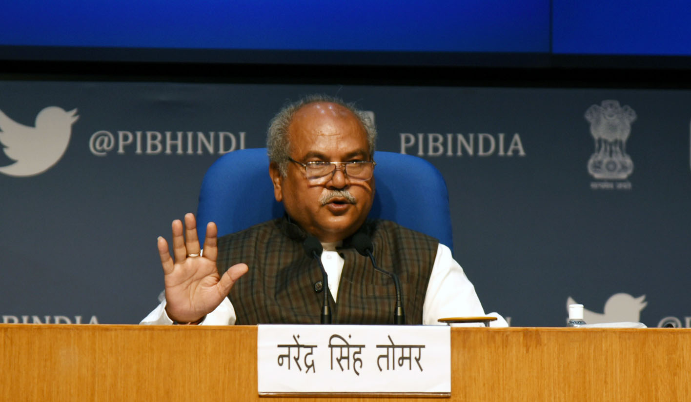 The Union Minister for Agriculture & Farmers Welfare, Rural Development and Panchayati Raj, Food Processing Industries, Shri Narendra Singh Tomar addressing a press conference on Farmers' Welfare, in New Delhi on December 10, 2020.