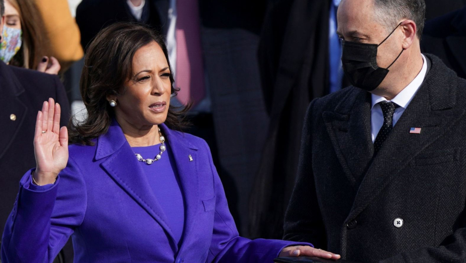 Kamala Harris is sworn in as U.S. Vice President as her spouse Doug Emhoff holds a bible during the inauguration of Joe Biden as the 46th President of the United States on the West Front of the U.S. Capitol in Washington, U.S., January 20, 2021 Photograph:( Reuters )