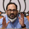 New Delhi: BJP national spokesperson Rajeev Chandrasekhar addresses a press conference at BJP HQ in New Delhi, Thursday, Oct. 15, 2020. (PTI Photo/Vijay Verma) (PTI15-10-2020 000115B)