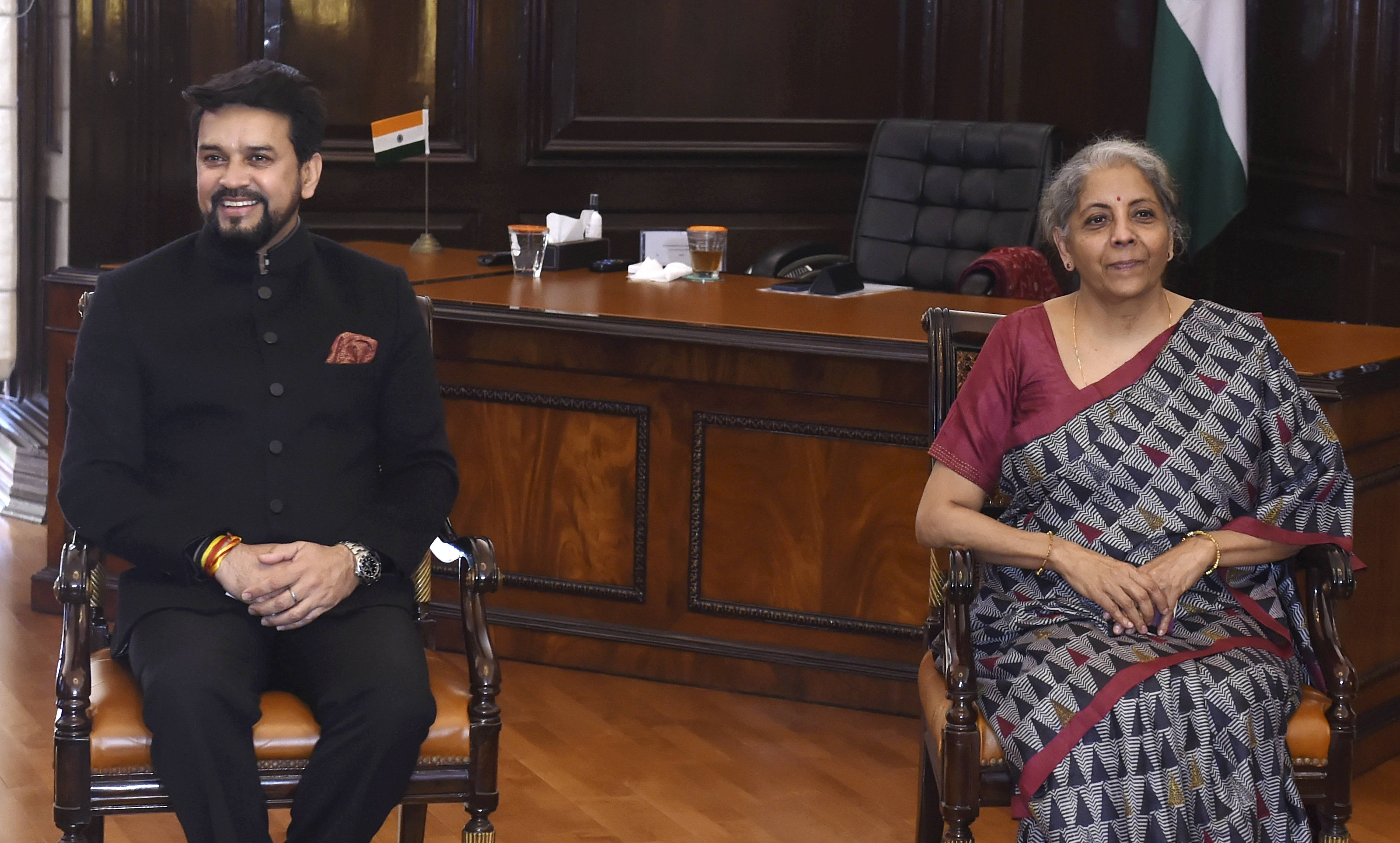 New Delhi: Finance Minister Nirmala Sitharaman along with MoS for Finance Anurag Thakur during the final touches of Union Budget 2021-22, at Finance Ministry in New Delhi, Sunday, Jan. 31, 2021. (PTI Photo/Shahbaz Khan)(PTI01_31_2021_000197B)