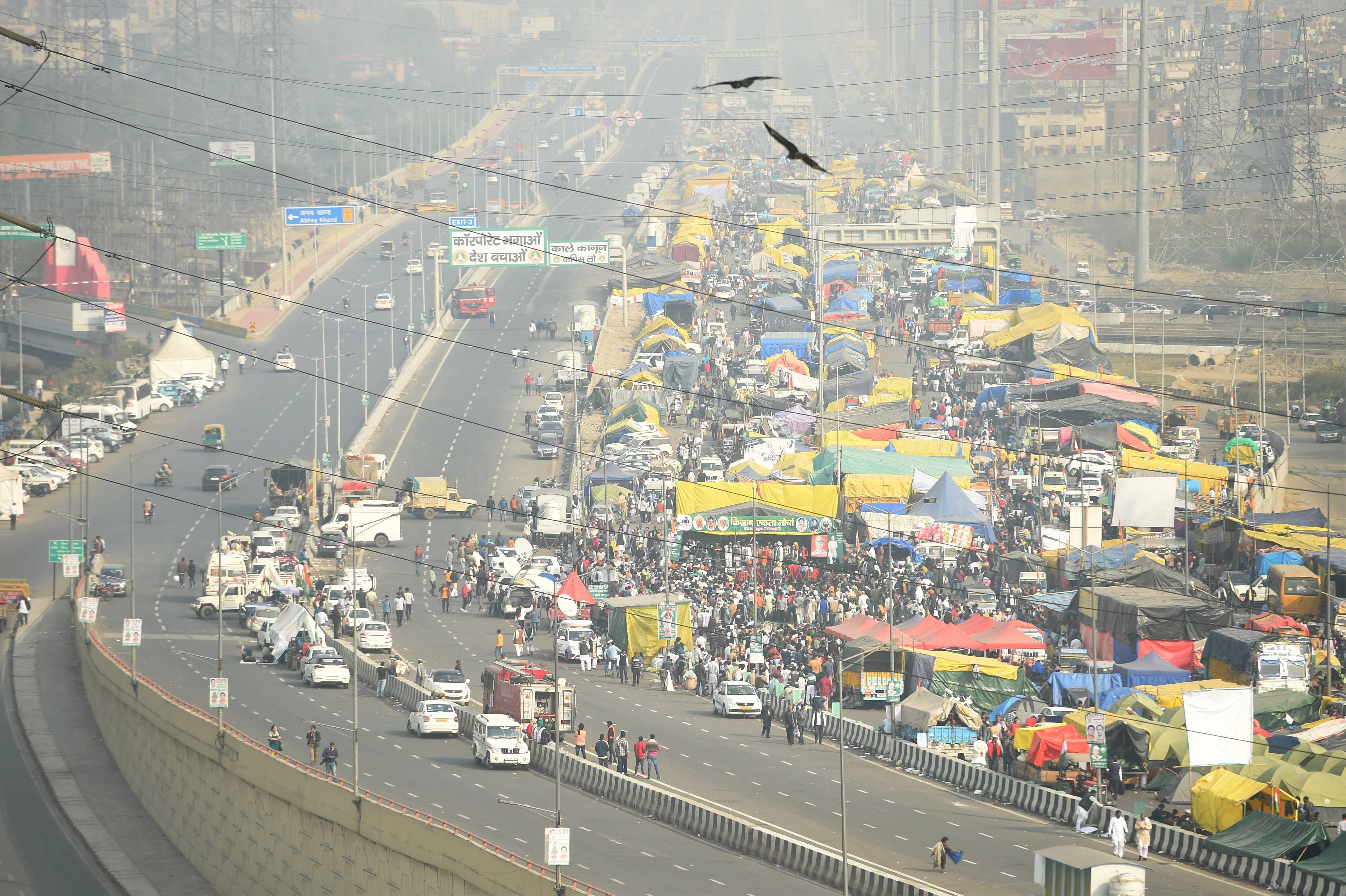 New Delhi: Top view of the site of farmers' ongoing agitation against Centre's farm reform laws, at Ghazipur border in New Delhi, Tuesday, Feb. 2, 2021. (PTI Photo/Vijay Verma) (PTI02_02_2021_000120B) *** Local Caption ***