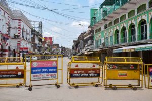 Allahabad: A closed road during the total lockdown announced by the State Government to curb the spread of COVID-19, in Allahabad, Sunday, July 12, 2020. (PTI Photo) (PTI12-07-2020 000106B)