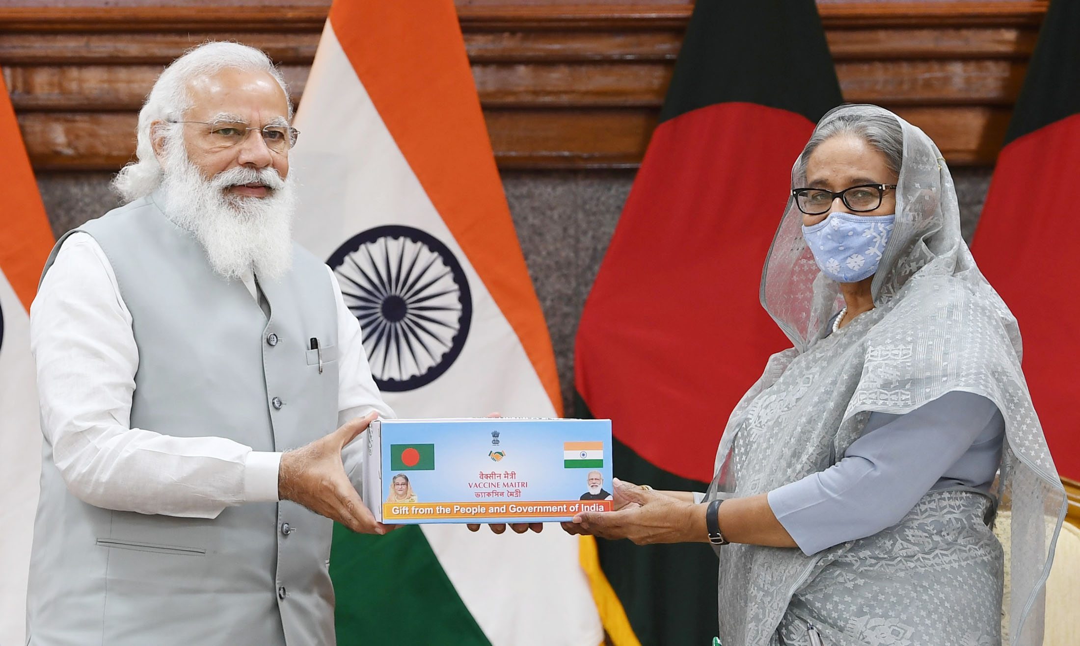 The Prime Minister, Shri Narendra Modi and the Prime Minister of Bangladesh, Ms. Sheikh Hasina at the inauguration of the various projects in Bangladesh, in Dhaka, Bangladesh on March 27, 2021.