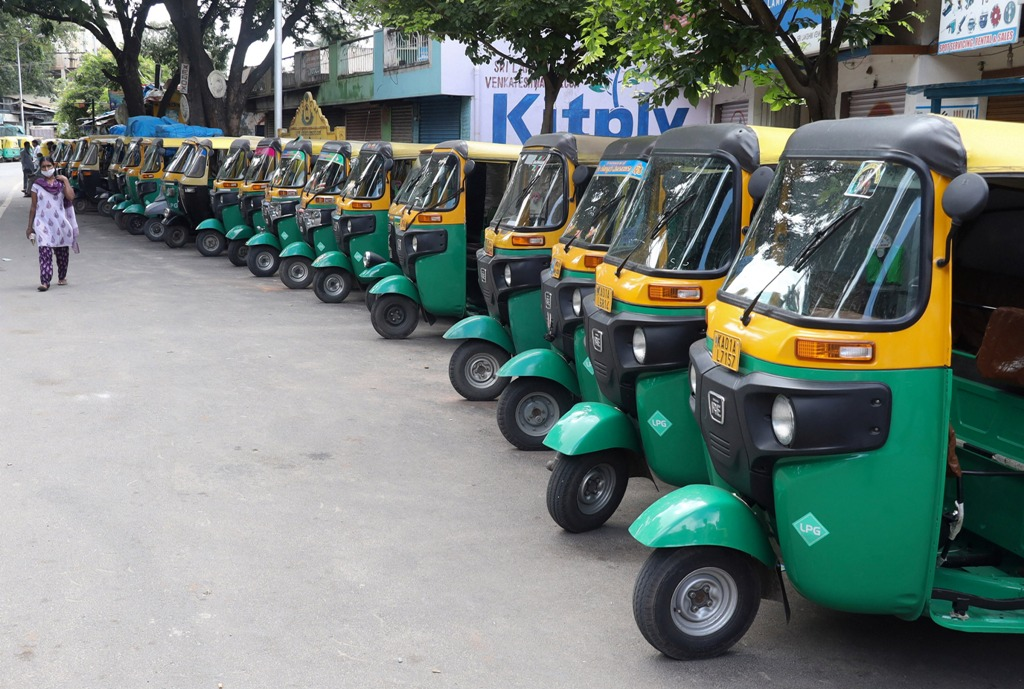 Bengaluru: Autorickshaws parked along a road during the Sunday lockdown announced by the State Government to curb the spread of coronavirus, in Bengaluru, Sunday, July 12, 2020. (PTI Photo) (PTI12-07-2020 000092B)