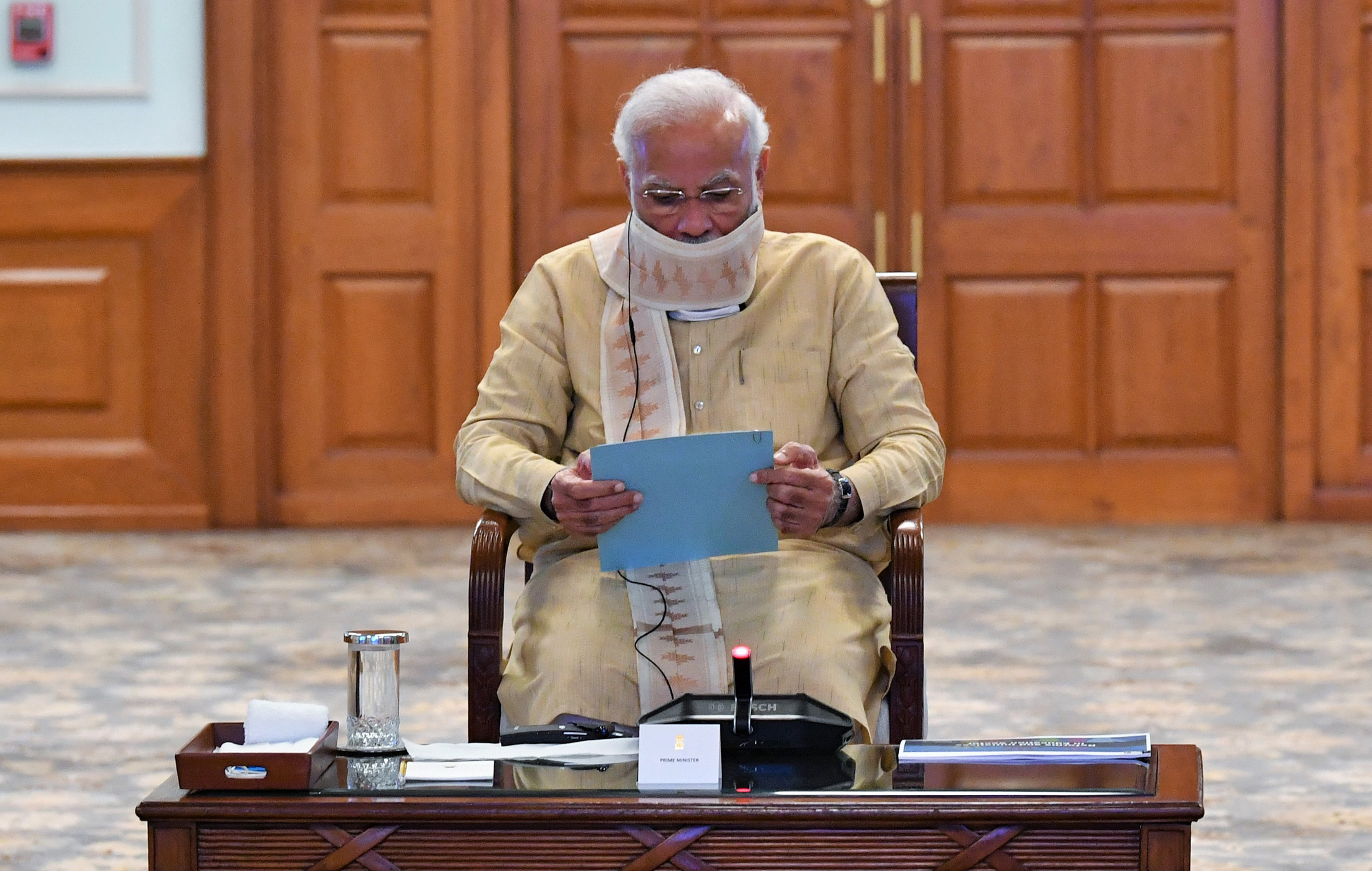 The Prime Minister, Shri Narendra Modi holding a review meeting to discuss Education Sector, in New Delhi on May 01, 2020.