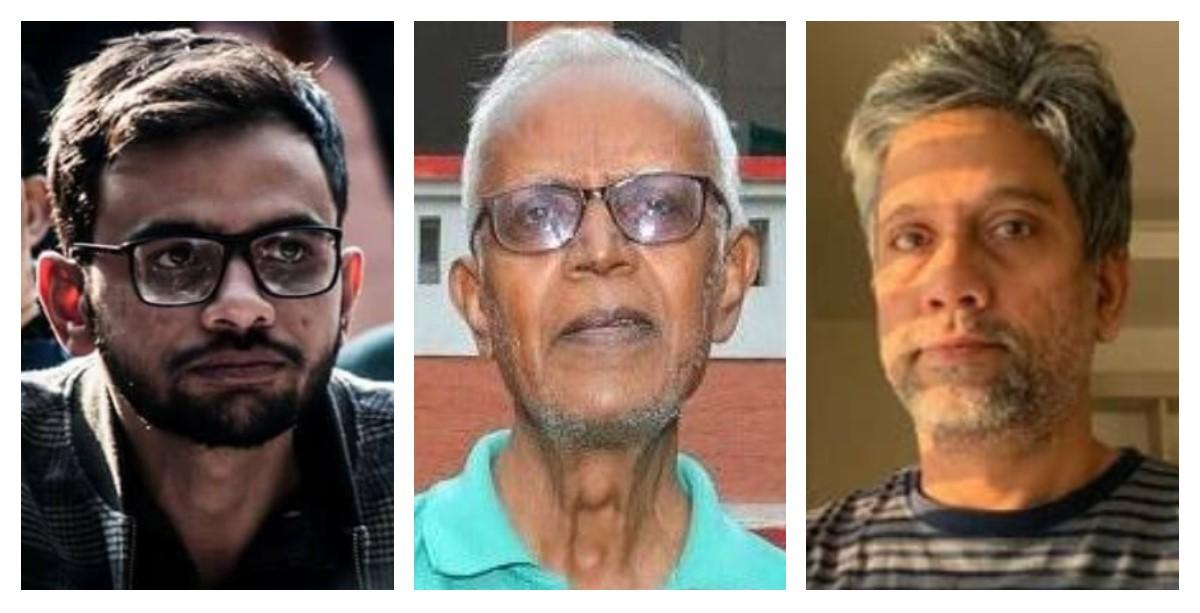 उमर खालिद, फादर स्टेन स्वामी और हेनी बाबू एमटी. (फोटो साभार: फेसबुक/पीटीआई/ट्विटर)