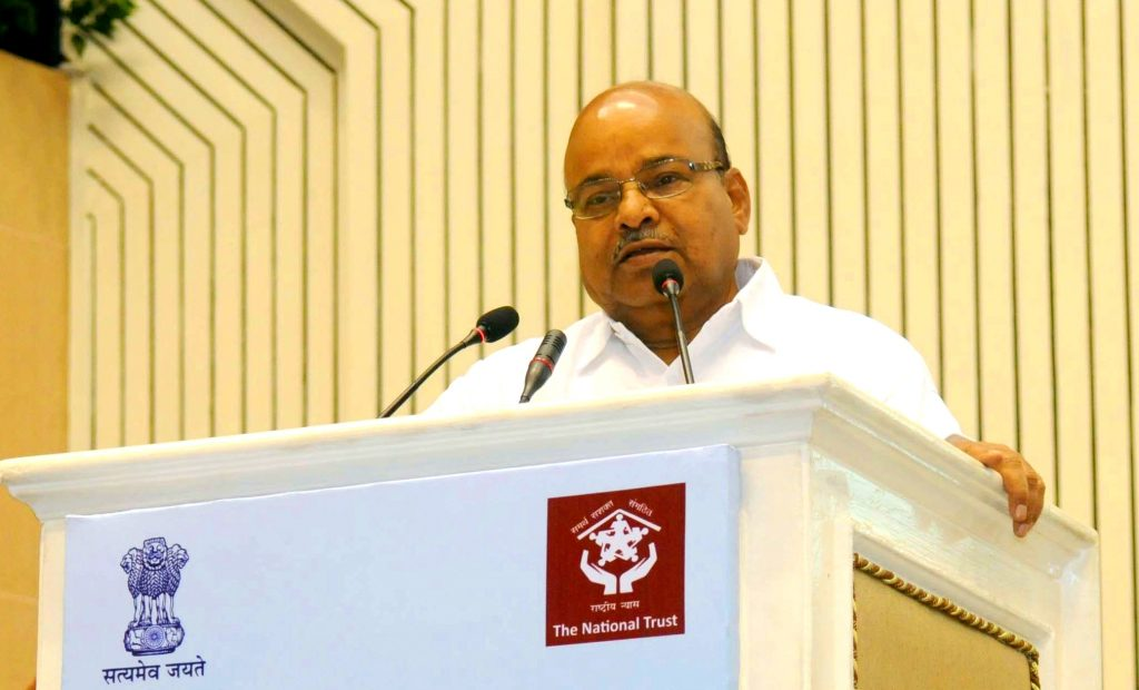 """The Union Minister for Social Justice and Empowerment, Shri Thaawar Chand Gehlot addressing at the inauguration of a """"National Conference on Autism"""", organised by National Trust, on the occasion of the World Autism Awareness Month, in New Delhi on April 03, 2017."""