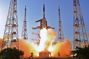 """Sriharikota: Indian Space Research Organisation (ISRO)'s communication satellite GSAT-9 on-board GSLV-F09 lifts off from Satish Dhawan Space Center in Sriharikota on Friday. Prime Minister Narendra Modi has termed the satellite as India's """"space gift for South Asia"""". PTI Photo (PTI5_5_2017_000187A)"""
