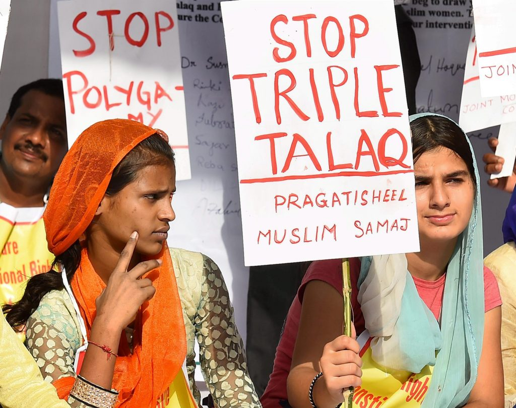 New Delhi: Activists of Joint Movement Committee protest on the issue of 'Triple Talaq' at Jantar Mantar in New Delhi on Wednesday. PTI Photo by Kamal Singh (PTI5_10_2017_000223A)