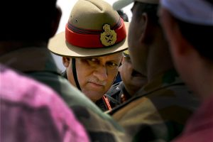 New Delhi: Army chief Bipin Singh Rawat after paying tribute to the slain soldiers Naik Dipak Maity of Midnapore in Bengal and Manivannan G. of Tamil Nadu at AFS Palam in New Delhi on Sunday. Two soldiers were killed in a militant ambush on an army convoy at Qazigund on the Jammu-Srinagar national highway on Saturday. PTI Photo by Atul Yadav   (PTI6_4_2017_000105B) *** Local Caption ***