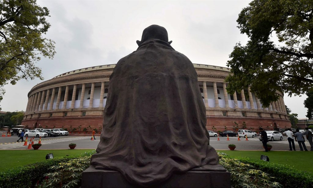New Delhi: A view of Parliament in New Delhi on Sunday, a day ahead of the monsoon session. PTI Photo by Kamal Singh (PTI7_16_2017_000260A)