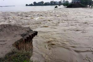 Gopalganj : A damage dam in flood affected Gopalganj on Wednesday. PTI Photo (PTI8 16 2017 000092B)