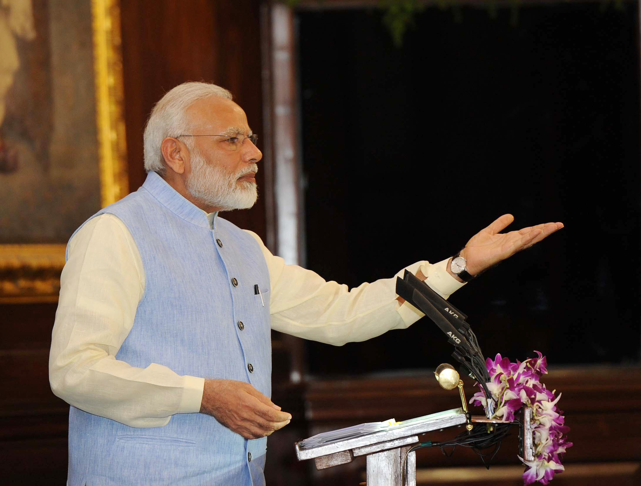 The Prime Minister, Shri Narendra Modi addressing at the ceremony to launch the Goods & Service Tax (GST), in Central Hall of Parliament, in New Delhi on June 30, 2017.