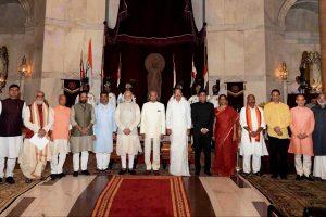 New Delhi: President Ram Nath Kovind, Vice President M. Venkaiah Naidu, Prime Minister Narendra Modi poses with new members of cabinet after the reshuffle at Rashtrapati Bhavan in New Delhi on Sunday.   PTI Photo (PTI9_3_2017_000040A) *** Local Caption ***