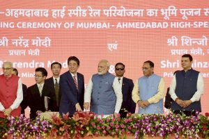 Ahmedabad: Prime Minister Narendra Modi and his Japanese counterpart Shinzo Abe during the ground breaking ceremony for high speed rail project in Ahmedabad on Thursday. PTI Photo/ pib(PTI9_14_2017_000043A) *** Local Caption ***