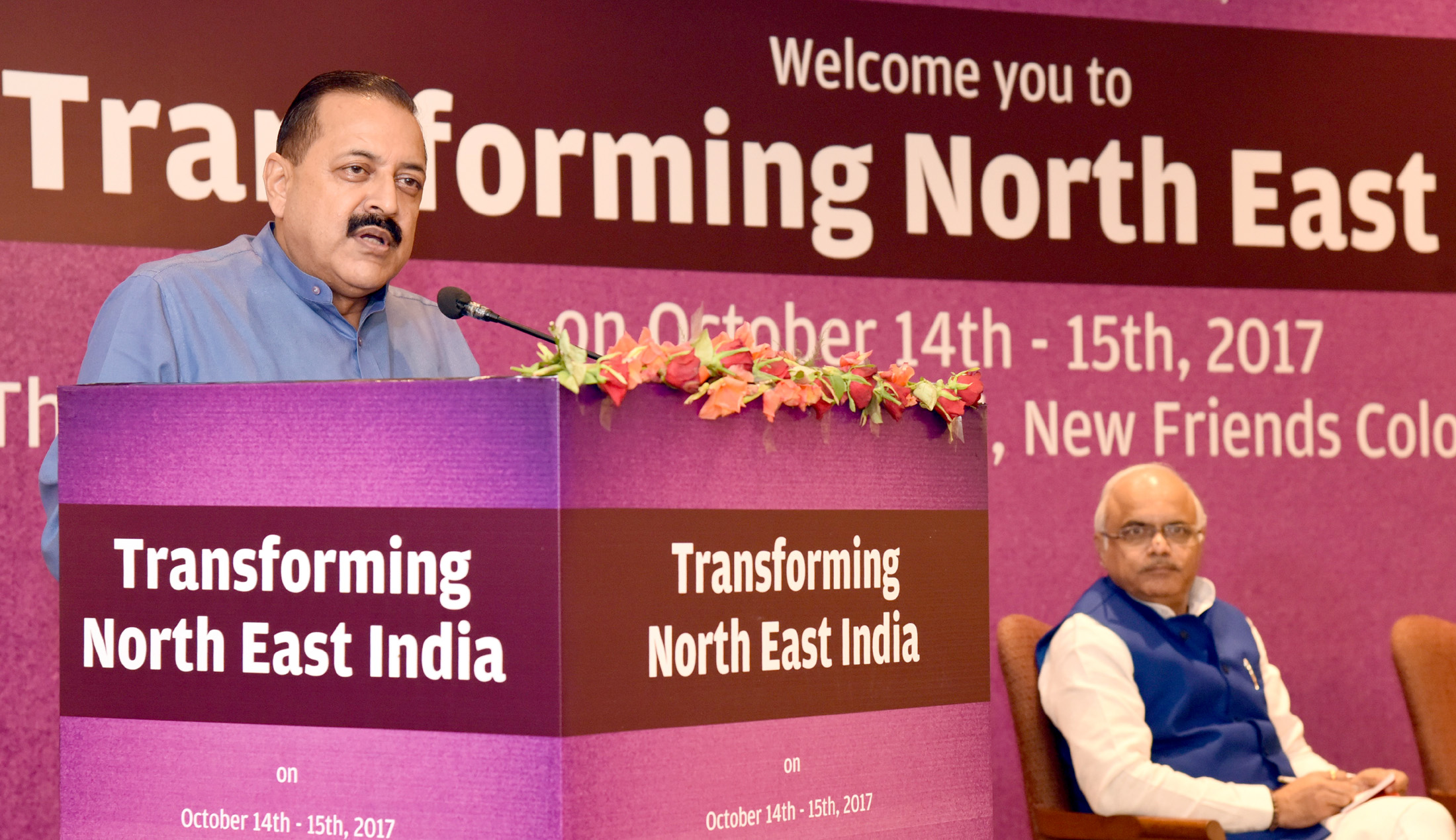 """The Minister of State for Development of North Eastern Region (I/C), Prime Minister's Office, Personnel, Public Grievances & Pensions, Atomic Energy and Space, Dr. Jitendra Singh addressing the two-day National Convention on """"Transforming Northeast India"""", in New Delhi on October 15, 2017."""