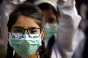 Children March against alarming-levels-of-pollution-in Delhi PTI