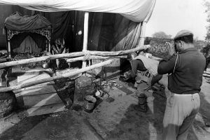 A make shift Ram temple comes up in place of Babri Masjid which was demolished by the Kar Sewaks a day before, Paramilitary force personal at the Make shift temple on 7th Dec 1992.