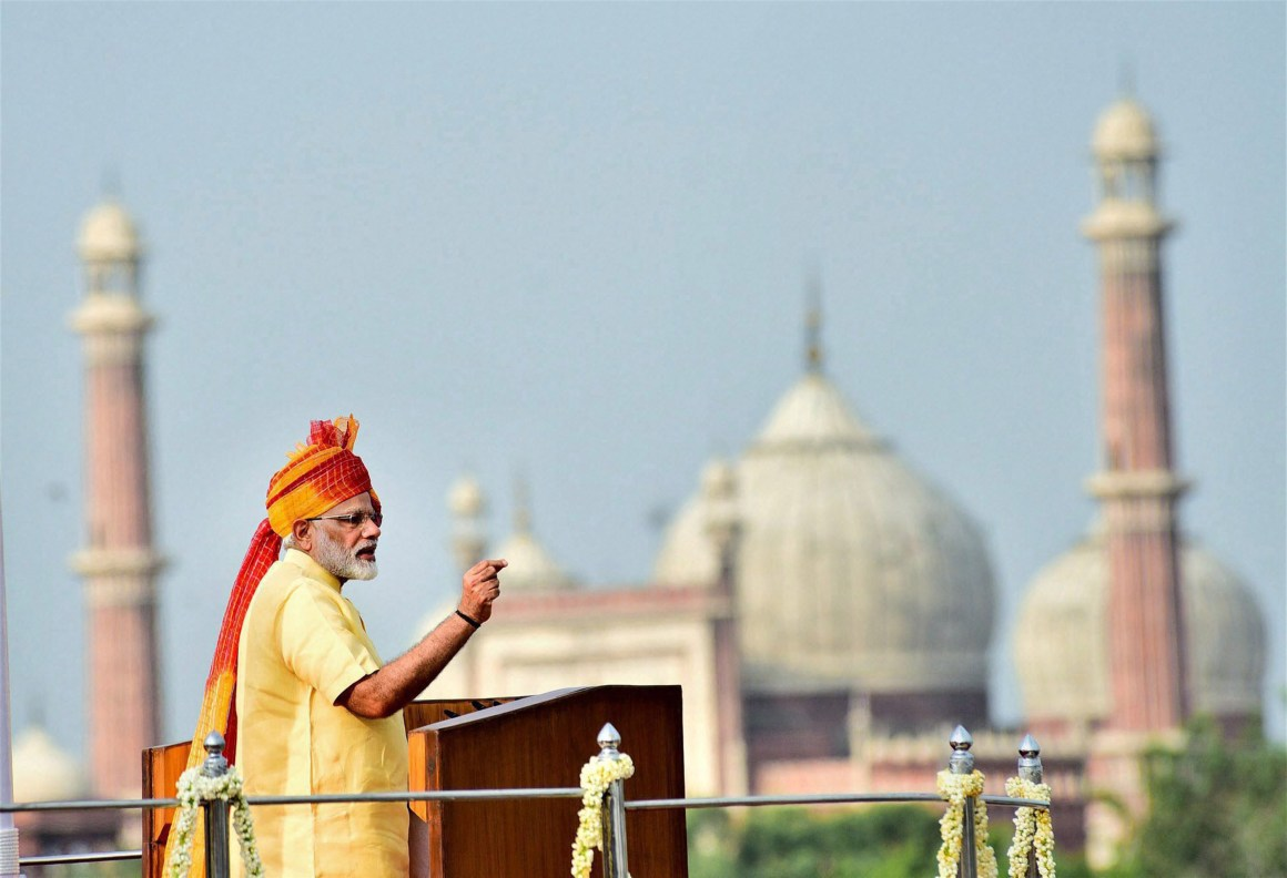 New Delhi: Prime Minister Narendra Modi addressing the nation from the ramparts of the historic Red Fort on the occasion of the 71st Independence Day, in New Delhi on Tuesday. PTI Photo / PIB (PTI8_15_2017_000059B) *** Local Caption ***