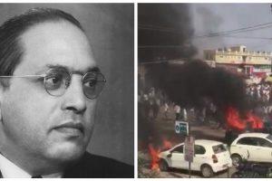 बाबा साहब आंबेडकर और भीमा कोरेगांव में सोमवार को हिंसा हुई हिंसा. (फोटो साभार: विकिमीडिया कॉमन्स/एएनआई)