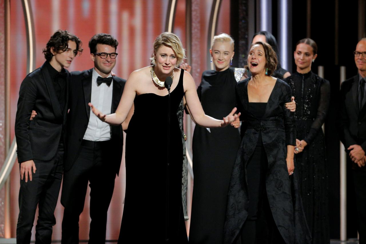 Greta Gerwig director of Lady Bird accepts the award for Best Motion Picture Comedy or Musical at the 75th Golden Globe Awards in Beverly Hills, California, U.S. January 7, 2018. Paul Drinkwater/Courtesy of NBC/Handout via REUTERS