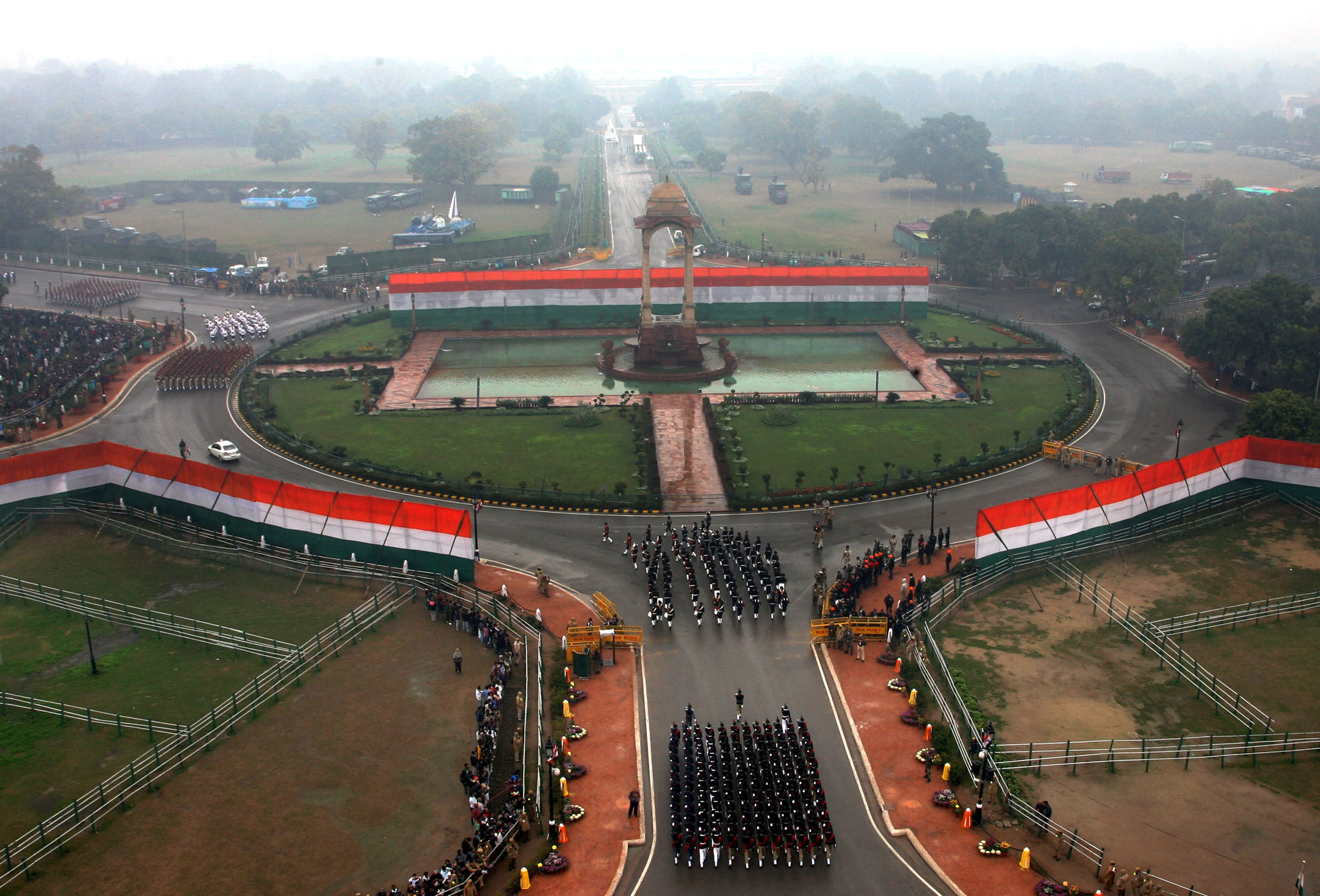 A bird's eye view of Rajpath, during the 66th Republic Day Parade 2015, in New Delhi on January 26, 2015.
