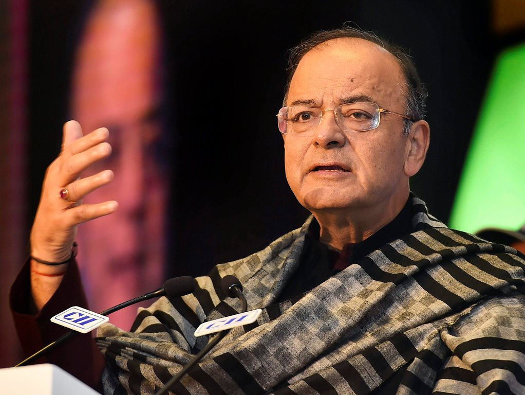 New Delhi: Union Finance & Corporate Affairs Minister Arun Jaitley addresses the valedictory session of ASEAN- India Business and Investment Meet and Expo in New Delhi on Tuesday. PTI Photo by Kamal Singh (PTI1_23_2018_000210B)