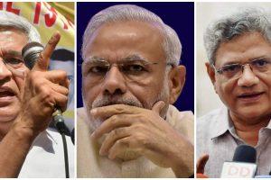 माकपा नेता प्रकाश करात, प्रधानमंत्री नरेंद्र मोदी और माकपा के महासचिव सीताराम येचुरी. (फोटो: पीटीआई/फेसबुक)